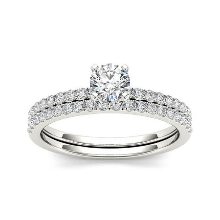 3/4 CT. T.W. Diamond 14K White Gold Bridal Ring Set, 6 1/2 , No Color Family