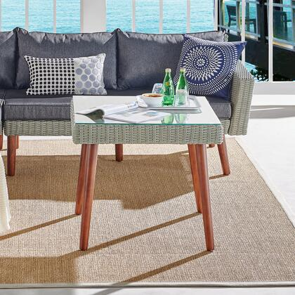 Albany Collection AWWD05DD All-Weather Wicker Outdoor Gray 26H Square Cocktail Table with Glass