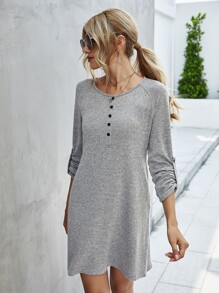 Half Button Raglan Sleeve Tee Dress