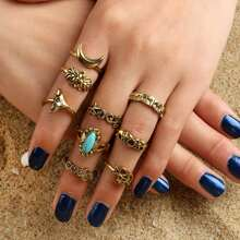 9pcs Gemstone Moon Ring