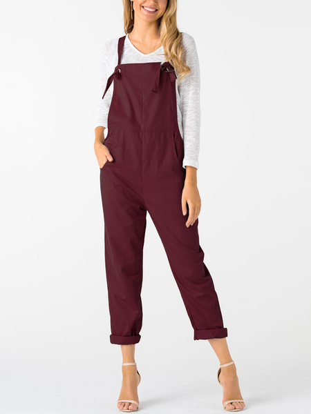Yoins Burgundy Square Neck Sleeveless Overall Outfits