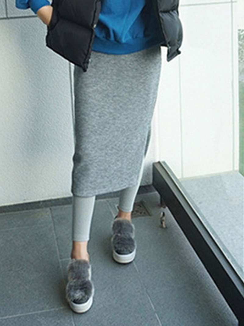 Ericdress Plain A-Line Knee-Length Hairy Skirt