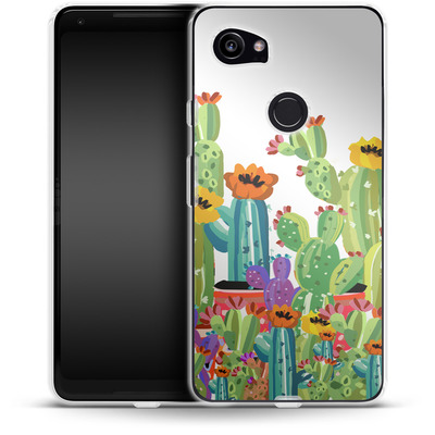 Google Pixel 2 XL Silikon Handyhuelle - Cacti Land von Mukta Lata Barua