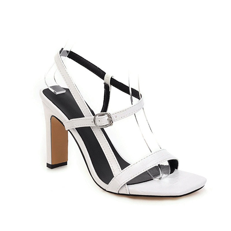 Ericdress Chunky Heel Buckle Square Toe Casual Sandals