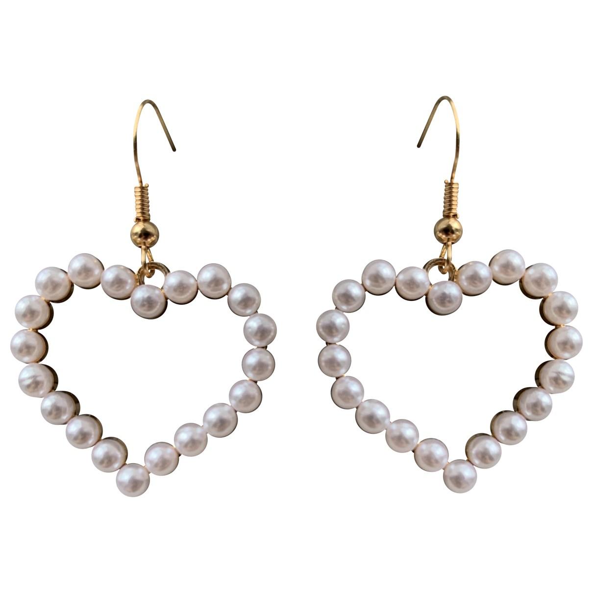 - Boucles doreilles Motifs Coeurs pour femme en metal - blanc