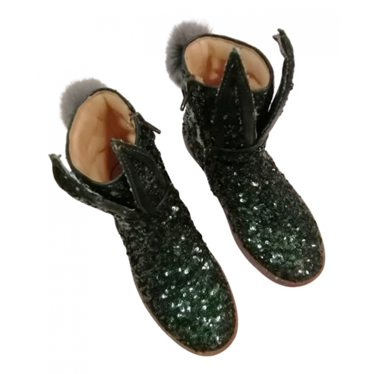 Non Signé / Unsigned N Green Glitter Boots for Kids 35 FR
