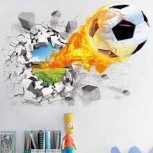 3D Fussball drucken Wandaufkleber