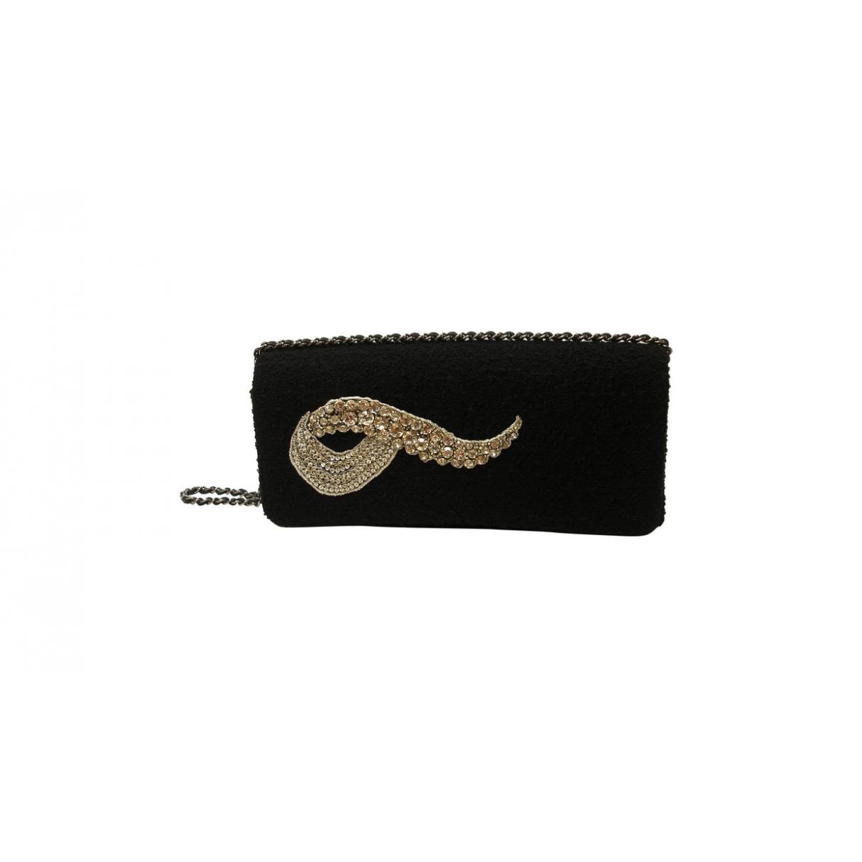 Chanel \N Clutch in  Schwarz Wolle