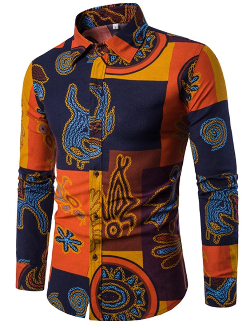 Ericdress Lapel Print Patchwork Mens Casual Shirt