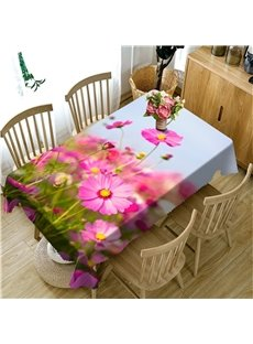 3D Pink Flowers Printed Decorative and Durable Dinning Table Cover Cloth