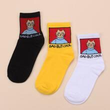 3pairs Cartoon Graphic Socks