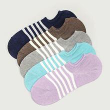 5 pares calcetines tobilleros con patron de rayas