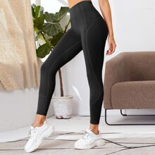 Solid Wide Band Waist Sports Leggings