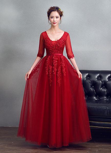 Milanoo Burgundy Evening Dress Tulle V Neck Prom Dress Beading Lace Keyhole Back Illusion Half Sleeve Maxi Graduation Dress wedding guest dress