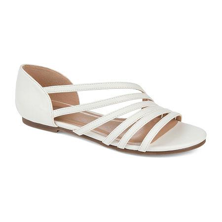 Journee Collection Womens Divina Strap Sandals, 9 Medium, White