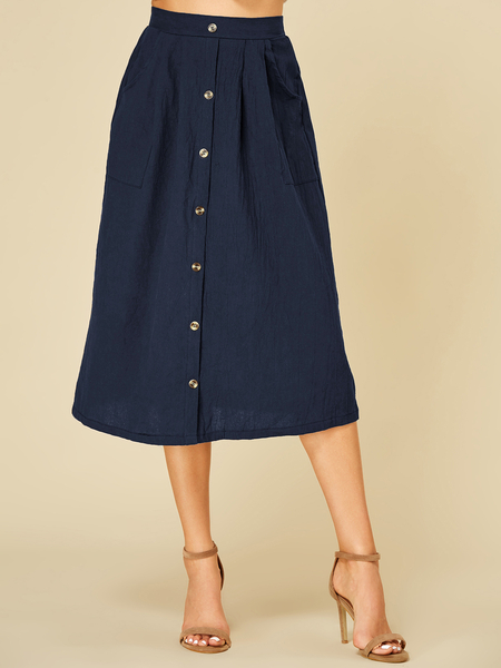 Yoins Navy Button Design Middle-Waisted Skirt