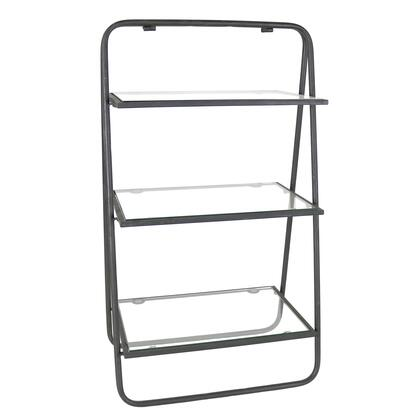 BM209845 3 Tier Metal Stand with Glass Shelves and Tubular Frame  Clear and