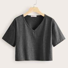 Camisetas de Tallas grandes Liso Gris Oscuro Casual