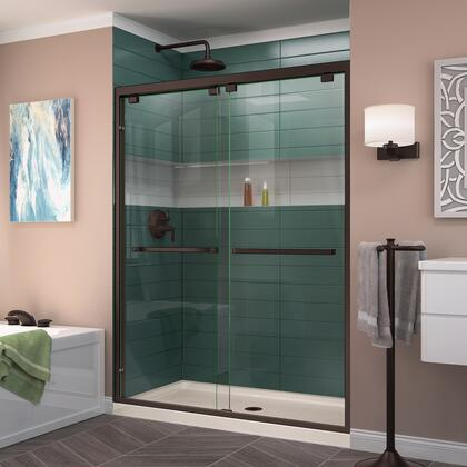 DL-7006C-22-06 Encore 34 D X 60 W Semi-Frameless Bypass Shower Door In Oil Rubbed Bronze And Center Drain Biscuit Acrylic