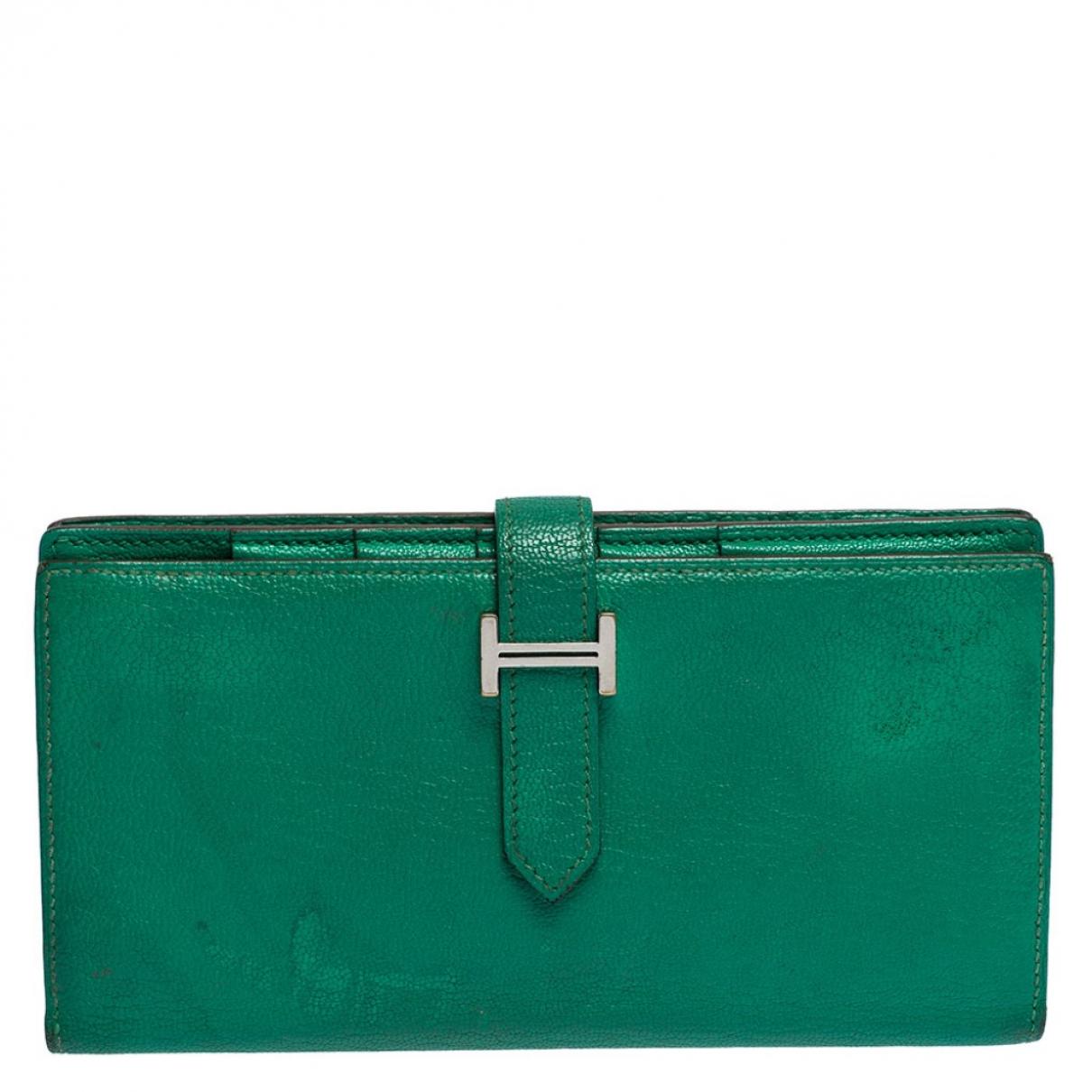 Hermès Béarn Green Leather wallet for Women N