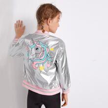 Girls Unicorn Print Striped Trim Metallic PU Leather Bomber Jacket