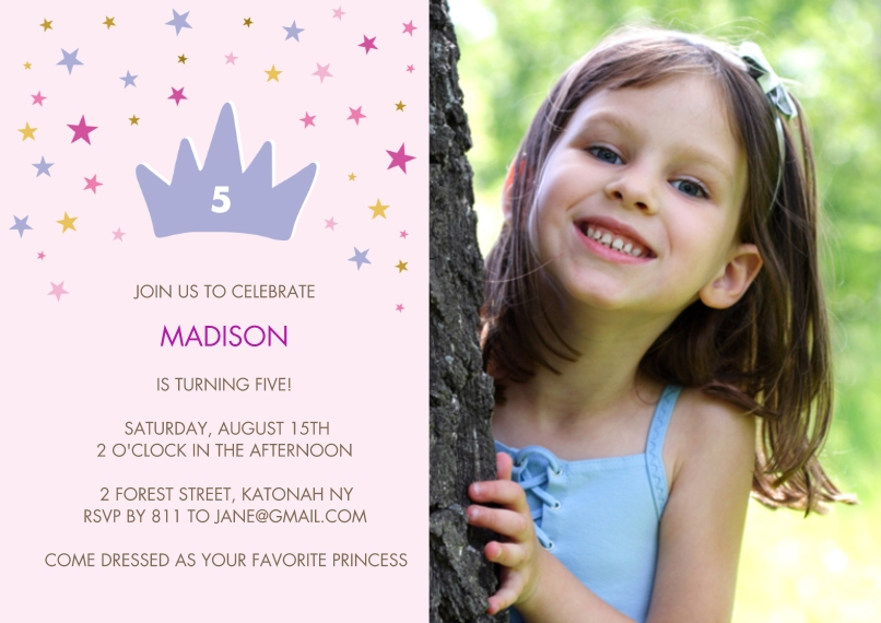Kids Birthday Party 5x7 Cards, Premium Cardstock 120lb with Scalloped Corners, Card & Stationery -Birthday Princess Stars