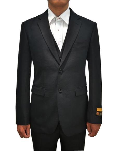 Alberto Nardoni Mens Vested 3 Piece Suit Black