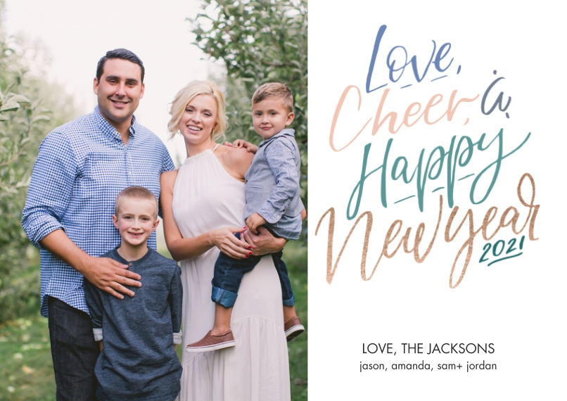 New Years Photo Cards 5x7 Cards, Premium Cardstock 120lb with Elegant Corners, Card & Stationery -Love and Cheer