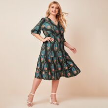 Plus Tribal Floral Surplice Front Ruffle Hem Dress