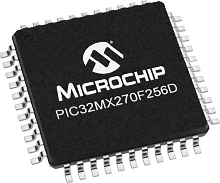 Microchip PIC32MX270F256D-I/ML, 32bit MIPS32 Microcontroller, PIC32, 40MHz, 256 kB Flash, 44-Pin QFN (45)