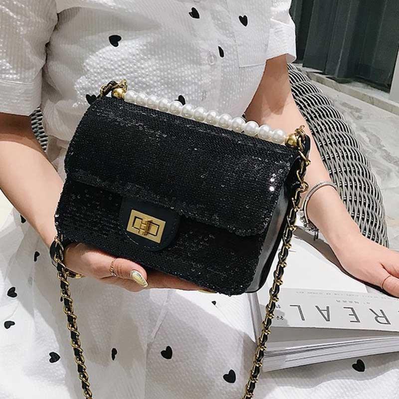 Ericdress Beads PU Plain Glisten Crossbody Bag