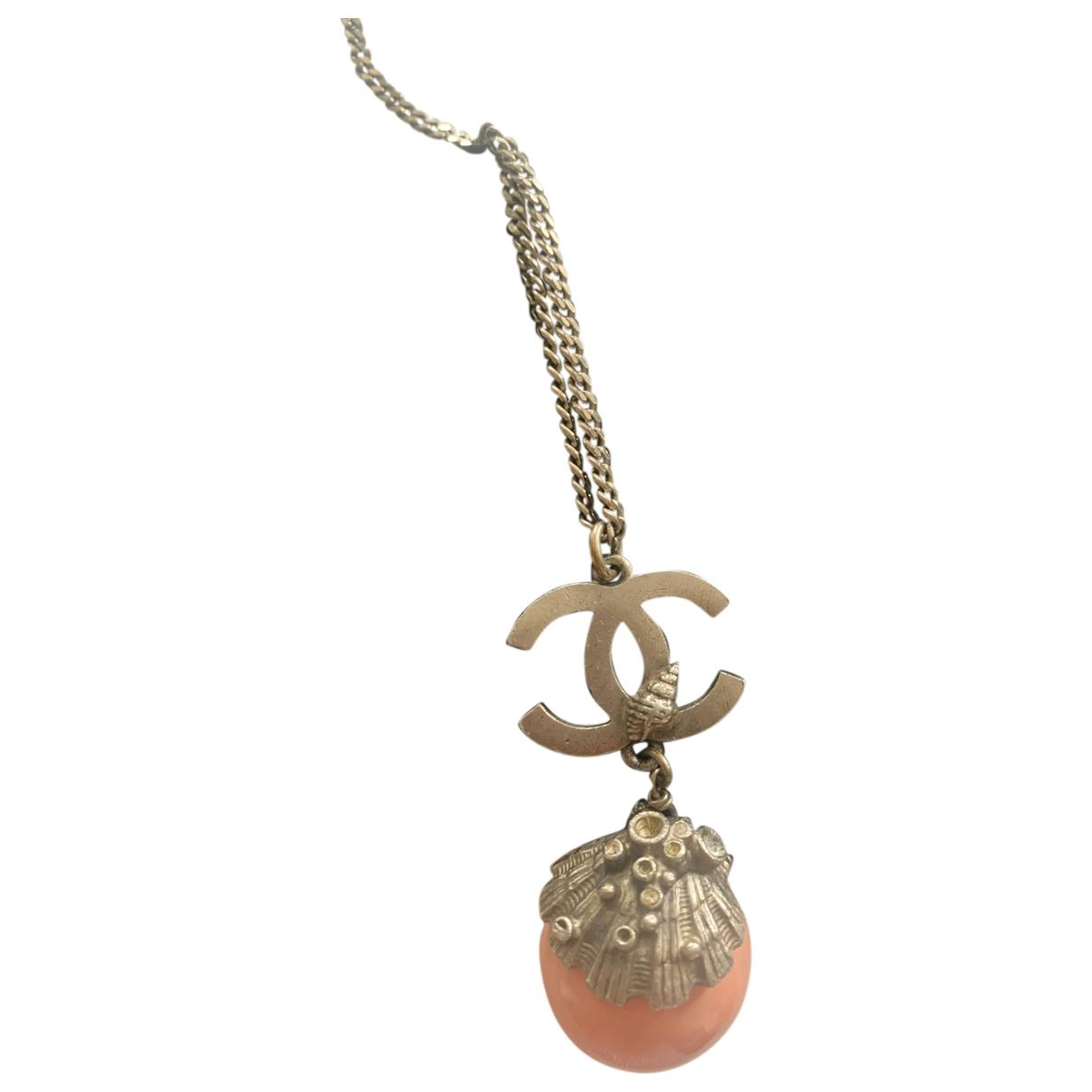 Chanel - Collier CC pour femme en metal - rose