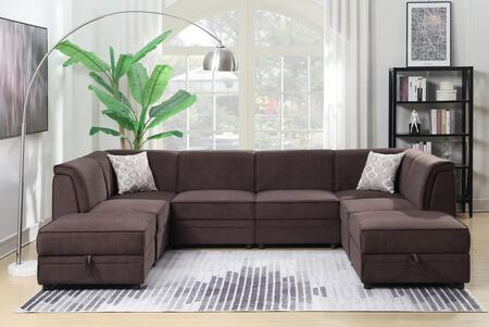 Charlotte 2027-8PC Modular Sectional Sofa with 2 Ottoman Included  Piped Stitching  Plywood Construction and Polyester in