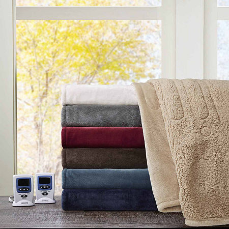 Beautyrest Solid Microlight To Berber Heated Electric Blanket, One Size , Brown