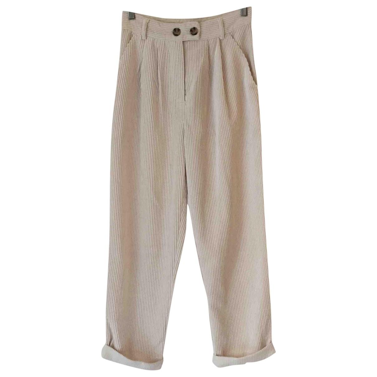 tophop \N Ecru Trousers for Women 8 UK