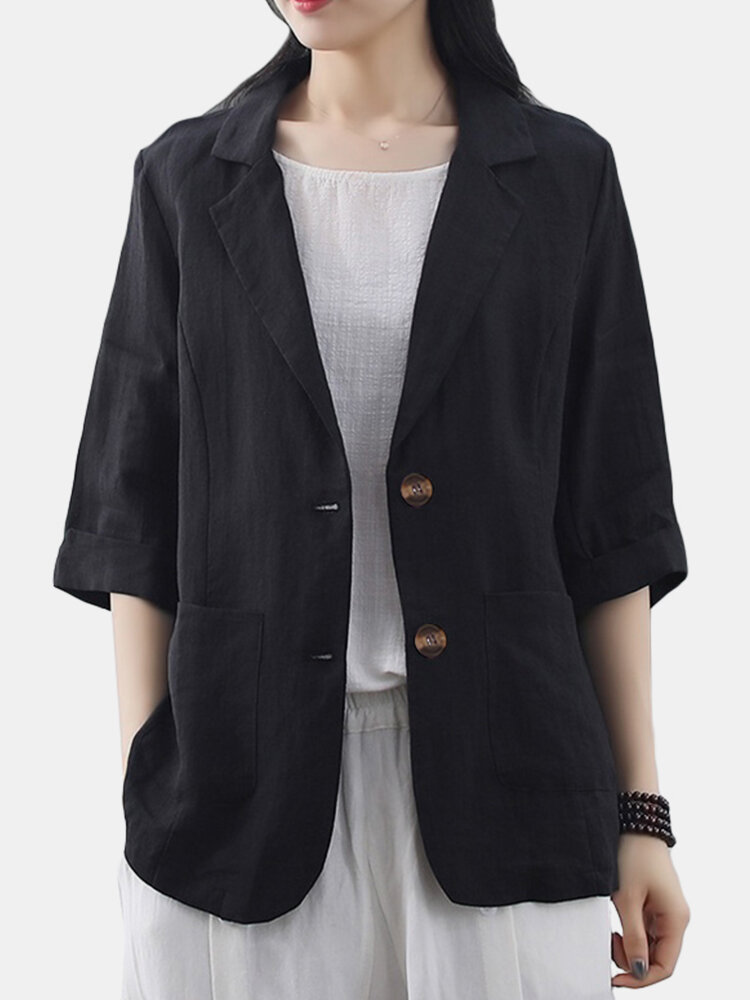 Solid Color Pockets Turn-down Collar 3/4 Sleeve Casual Jacket