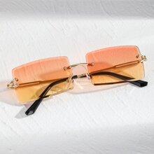 Gafas de sol de marco cuadrado sin montura de hombres