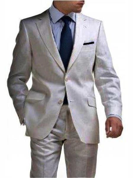 Mens & Boys Sizes 2 Button Linen Suit Silver Any Size Jacket & Pants