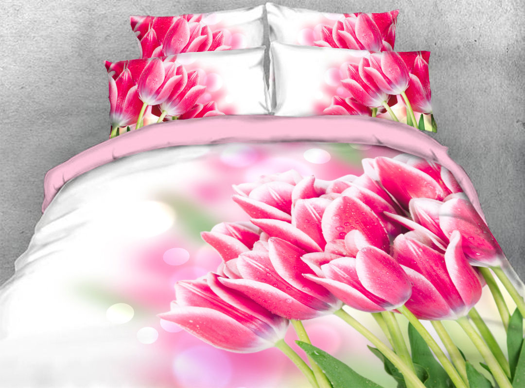 3D Pink Tulip Soft Lightweight Comforter 5Pcs Floral Warm Zipper Comforter Sets with Corner Ties
