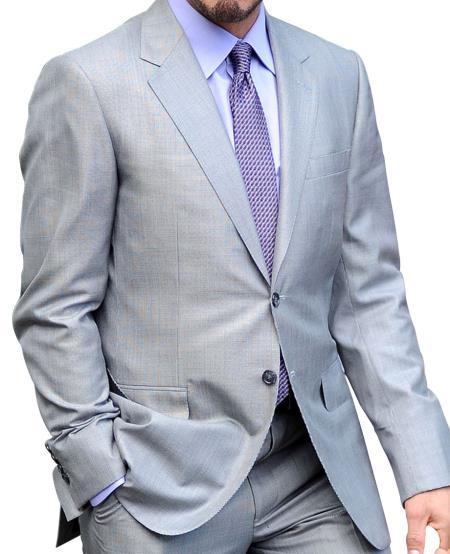 Men's Central Park Gray 2 Button Single Breasted Side Vents Suit