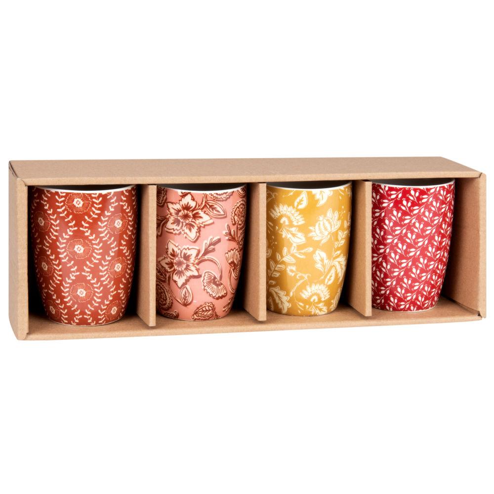 Set aus 4 Steinzeug-Bechern, mehrfarbig bedruckt