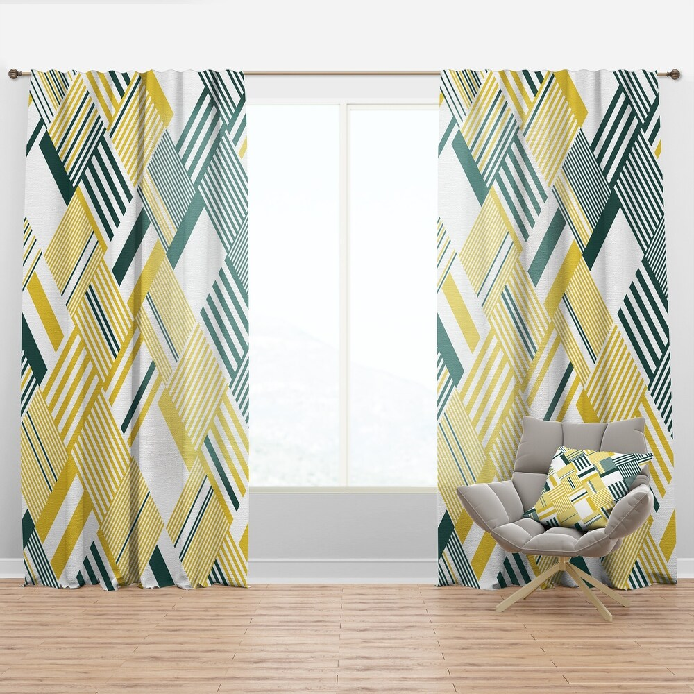 Designart 'Abstract Diagonal Stripe Pattern' Mid-Century Modern Curtain Panel (50 in. wide x 90 in. high - 1 Panel)