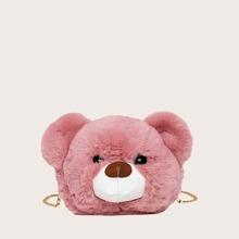 Cartoon Bear Shaped Chain Fluffy Crossbody Bag