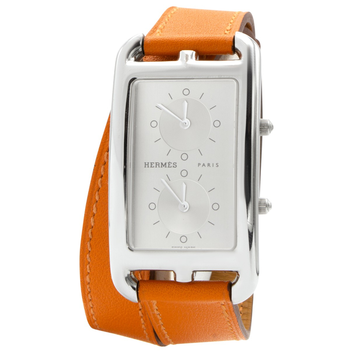 Hermes Cape Cod Dual Time Uhr in  Orange Stahl