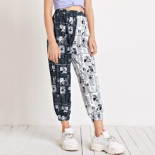 Girls Elastic Waist Newspaper Print Pants