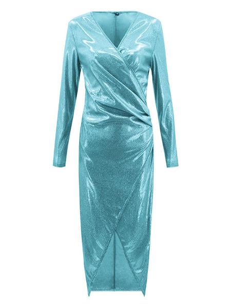 Milanoo Bodycon Dresses White V-Neck Pleated Irregular Casual Long Sleeves Pencil Dress