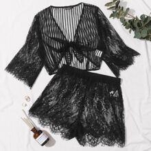 Tie Front Sheer Lace Top & Short Set