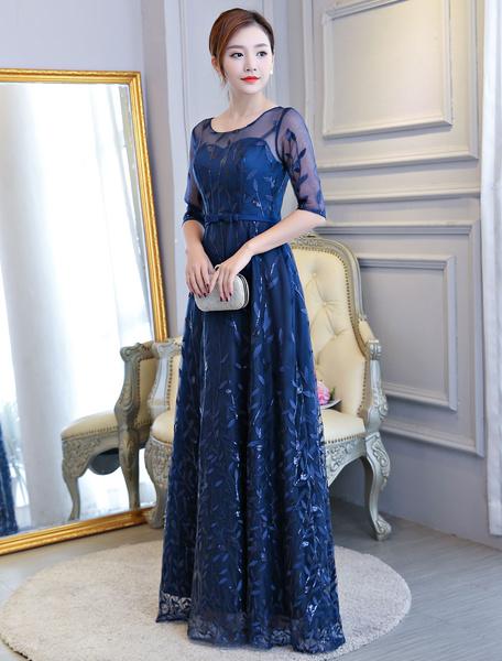 Milanoo Vestidos de noche Dark Navylace Half Sleeve Bow Sash Illusion piso longitud vestido formal