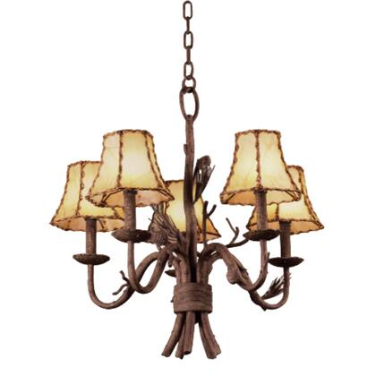 Ponderosa 5035PD/8045 5-Light Chandelier in Ponderosa with Leather Wrapped