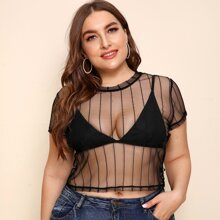 Plus Sheer Striped Mesh Top Without Bra